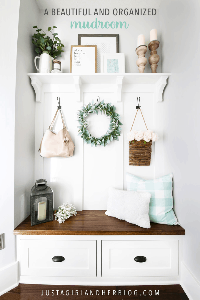 Come take the grand tour of our organized mudroom reveal, featuring beautiful and organized built-ins, chunky craftsman style trim work, an overhauled coat closet, and a pretty and practical command center gallery wall!   #mudroom #organizedmudroom #mudroomorganization #entry #entryway #entrywayorganization #organizedentry #mudroombench #builtins