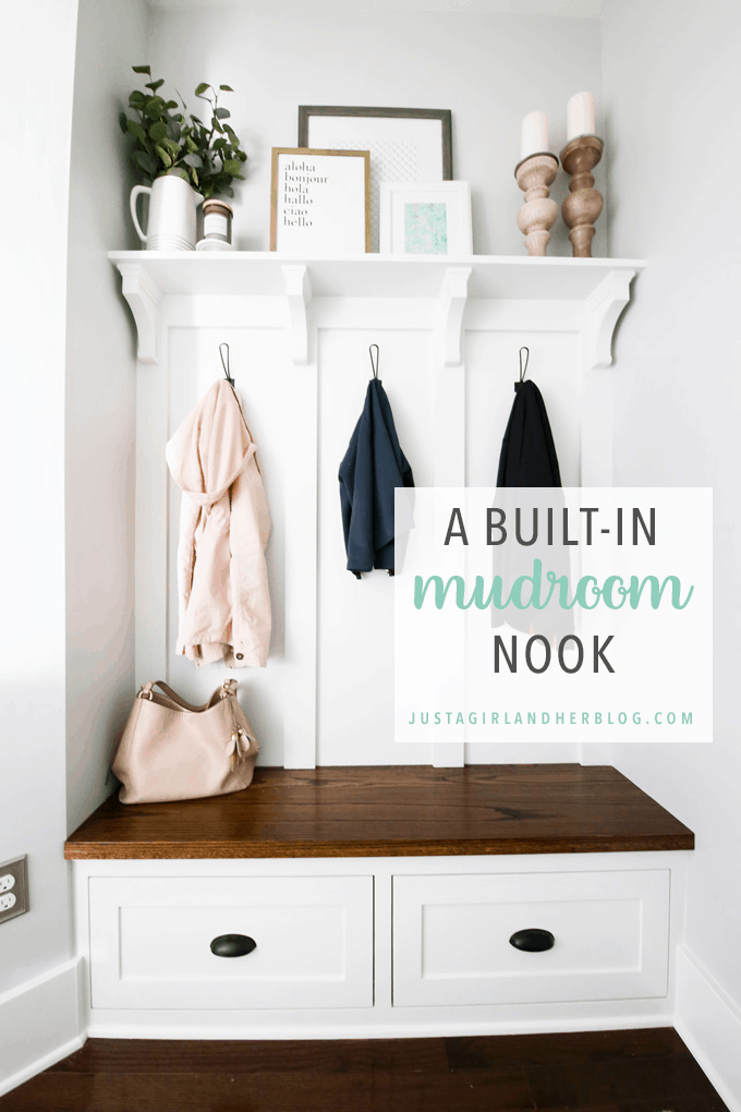 This built-in mudroom bench, shelf, and coat hooks totally transformed the space, creating an organized mudroom that is also beautiful and practical! | #mudroom #organizedmudroom #mudroomorganization #organizedentry #entry #entryway #mudroombench #farmhouse #cottage #farmhousestyle #cottagestyle