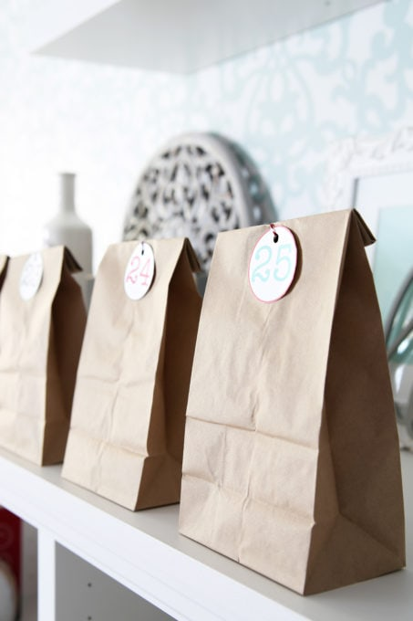 Christmas Advent Calendar with Brown Paper Bags and Numbered Tags