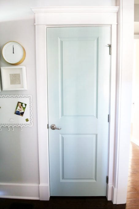 Mudroom Coat Closet Door Painted Sherwin Williams Rainwashed with Craftsman Style Trim Work