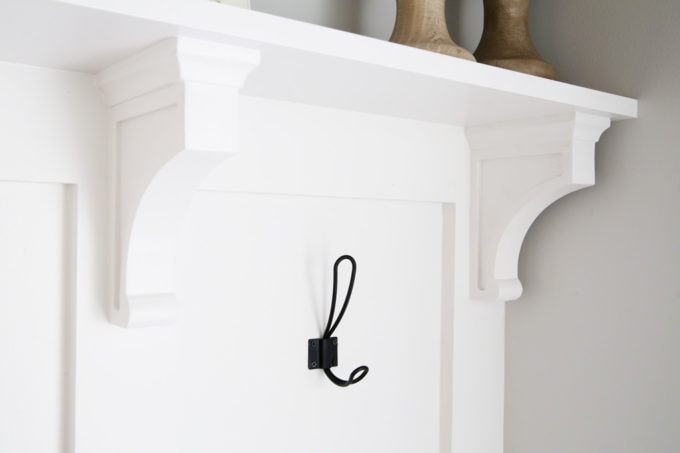 Wood Corbels as Part of Mudroom Built-Ins