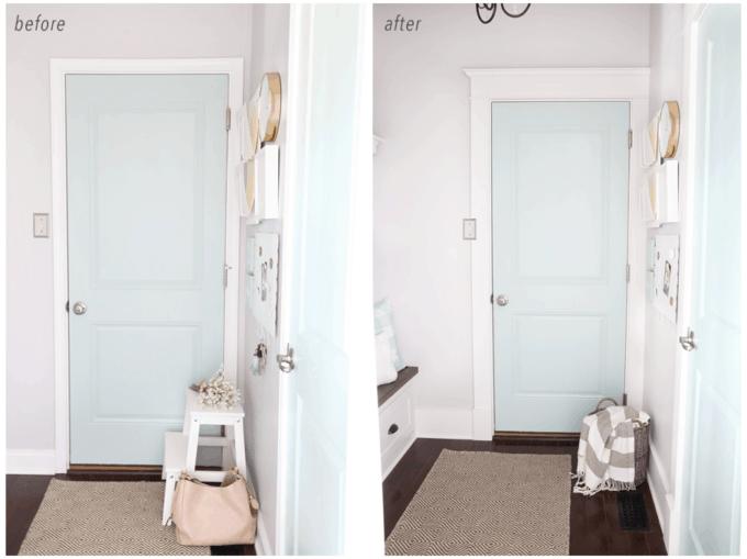 Mudroom Door with Upgraded Craftsman Style Trim Work
