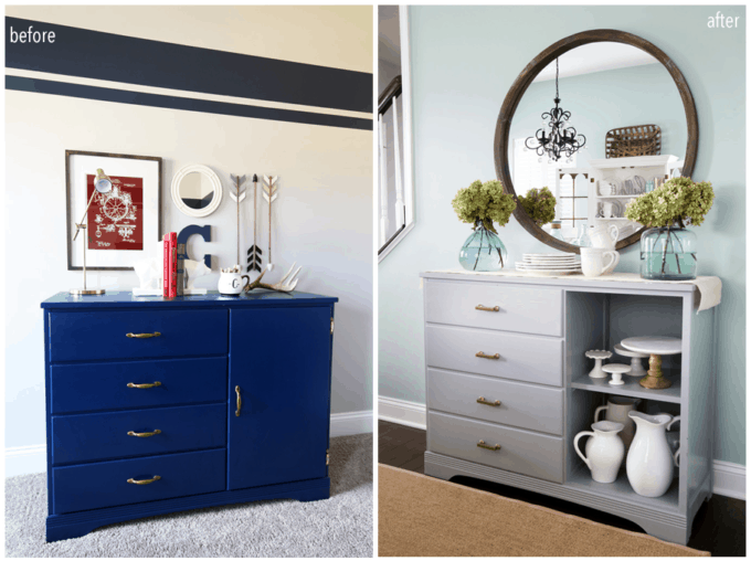Dresser to Sideboard Buffet Dining Room Storage Makeover