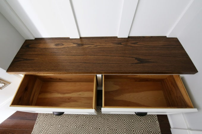 Empty Drawers in Built-In Mudroom Bench