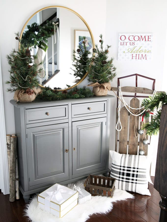 Christmas Entryway Decorated for the Holidays