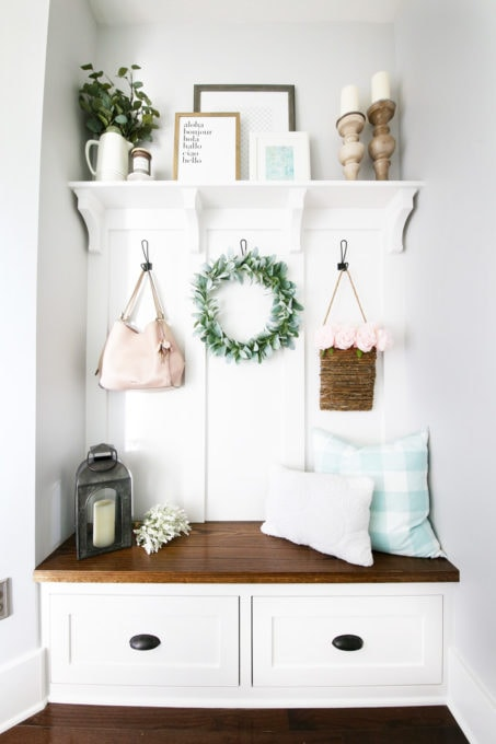 Decorated Mudroom Bench and Built-Ins