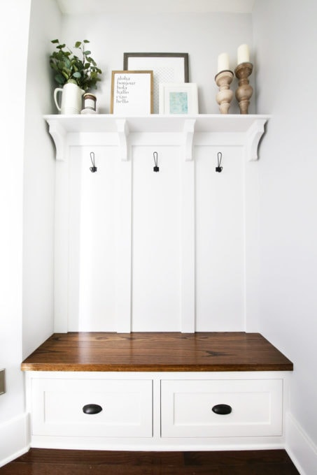Mudroom Built-Ins with Decorated Shelf
