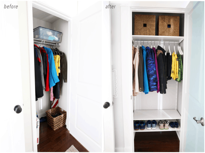 Organized Mudroom Coat Closet Before and After Comparison