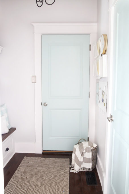 Door Painted Sherwin Williams Rainwashed with Craftsman Style Trim