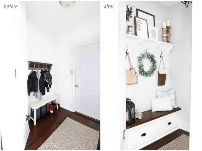 Organized Mudroom Entry Before and After Photos