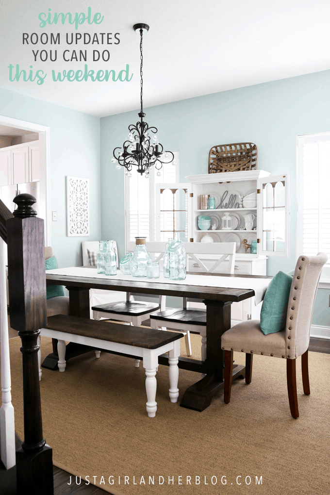 These easy dining room updates were completed in a weekend and are a simple way to refresh any dining space! | #diningroom #diningroomdecor #diningroomdecorating #roomrefresh #weekendproject #simplediy #easydiy Paint Color: Sherwin Williams Rainwashed, Ryan Homes Palermo Dining Room