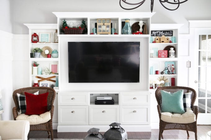 IKEA BESTA Entertainment Unit with Red and Aqua Holiday Decor
