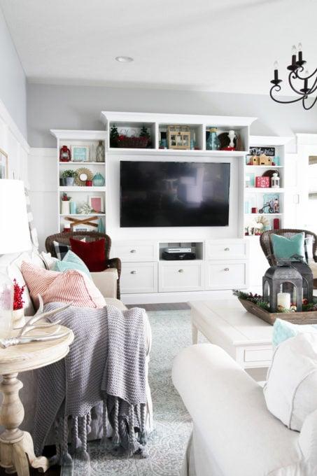Christmas Living Room with Red and Aqua Holiday Decor