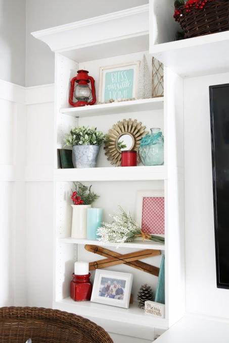 How to Style Shelves for Christmas with Red and Aqua Decor