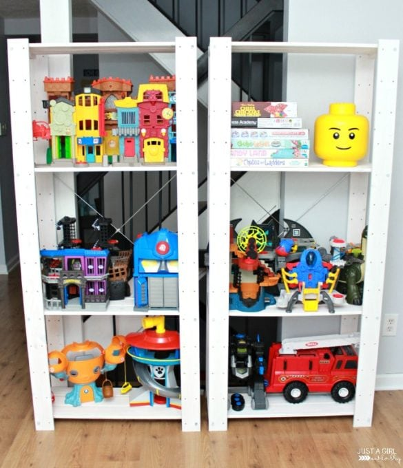Toys Stored on IKEA IVAR Shelves