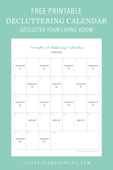 Free Printable Decluttering Calendar for Decluttering the Living Room