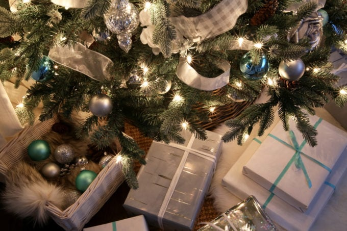 Gifts Under the Christmas Tree at Night