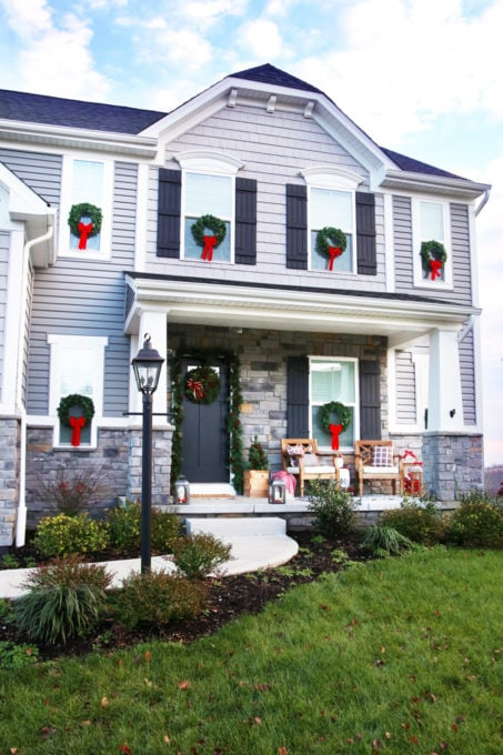Craftsman Style Home with Christmas Wreaths on the Windows, Ryan Homes Palermo