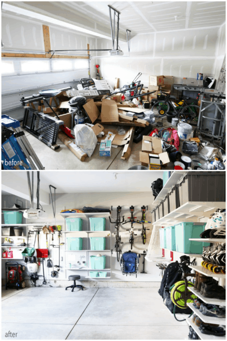 Messy Garage to Organized Garage Before and After