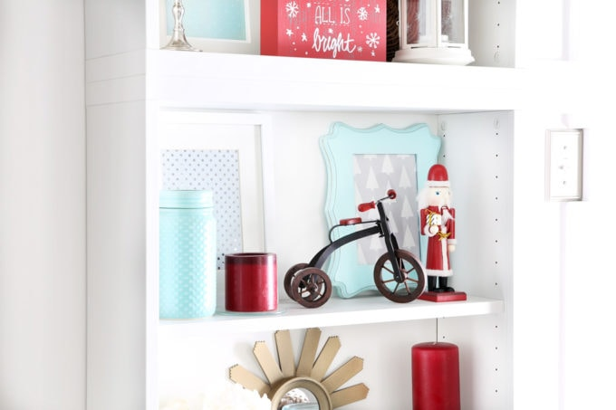 Styled Shelves with Red and Aqua Christmas Decor