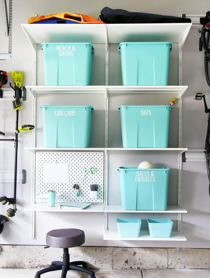 Organized Garage with IKEA ALGOT Shelves