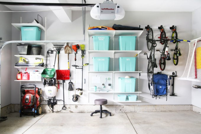 Organized Garage Using IKEA ALGOT Shelves and the Gladiator Track System