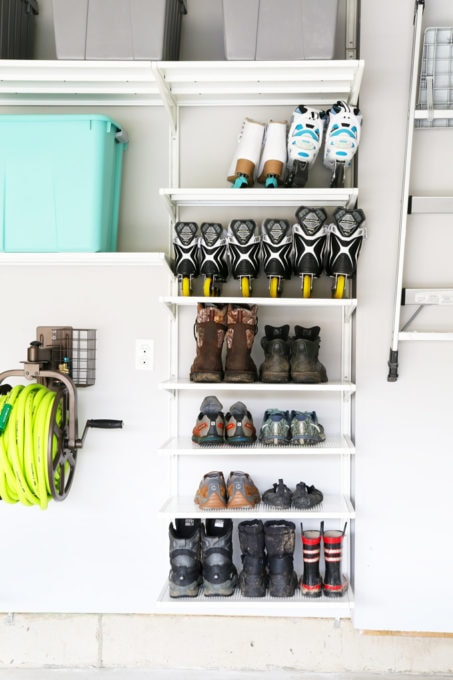 Storage for Shoes, Boots, and Rollerblades in an Organized Garage