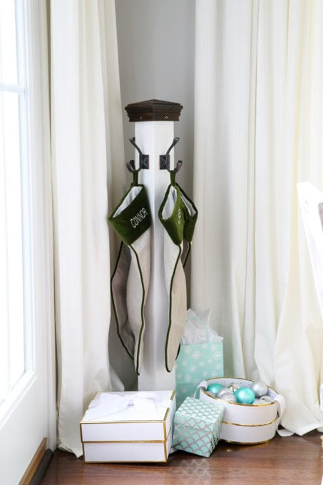 Stocking Pole for Christmas in a Sunroom