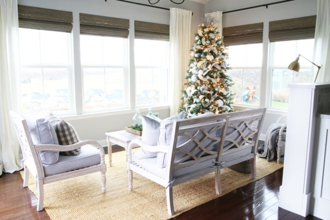Gray, Silver, White, and Tiffany Blue Christmas Tree in a Sunroom, Ryan Homes Palermo