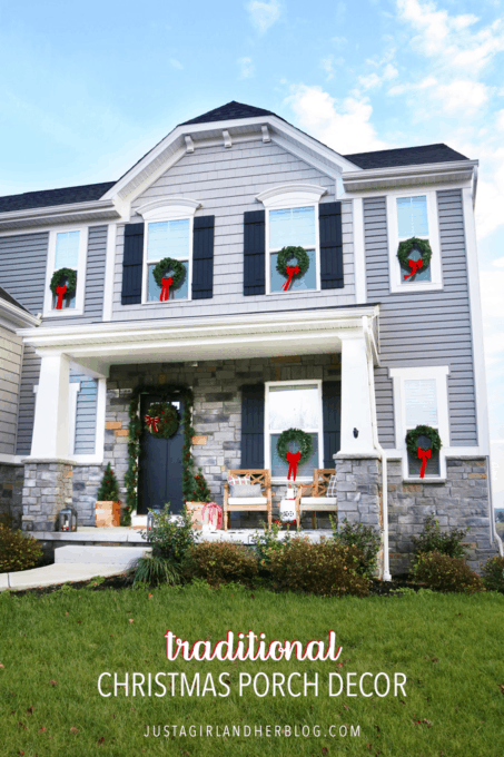Traditional Christmas Porch Decor on a Craftsman Style Home