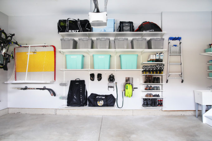 Organized Hockey Equipement and Shoes in an Extremely Organized Garage