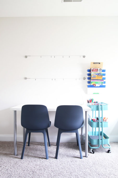 Craft Area for Kids with Room to Display Projects on the Wall Using IKEA DIGNITET Wires