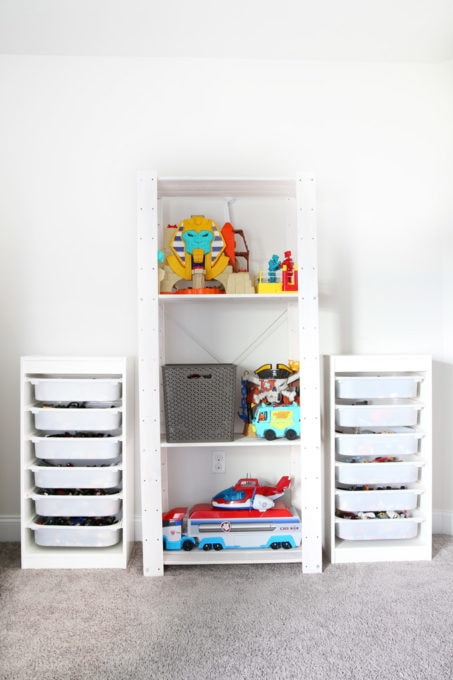 Organized Playroom with Storage for LEGO Bricks and Big Toys