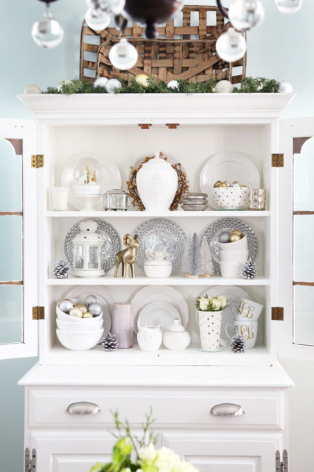 China Cabinet Hutch Decorated for Christmas