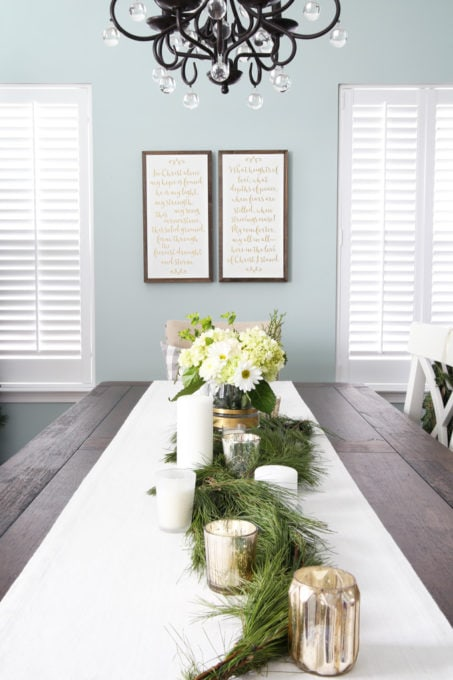 Dining Room with Neutral Christmas Decor and Fresh Greens