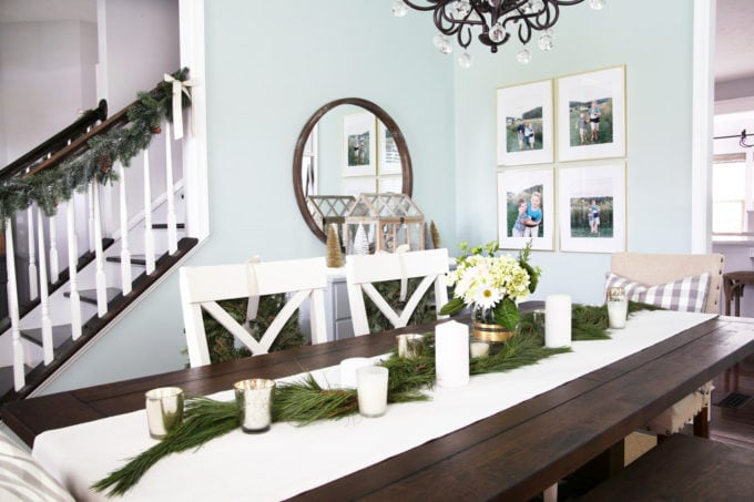 White and Aqua Christmas Dining Room with Dark Wood Table