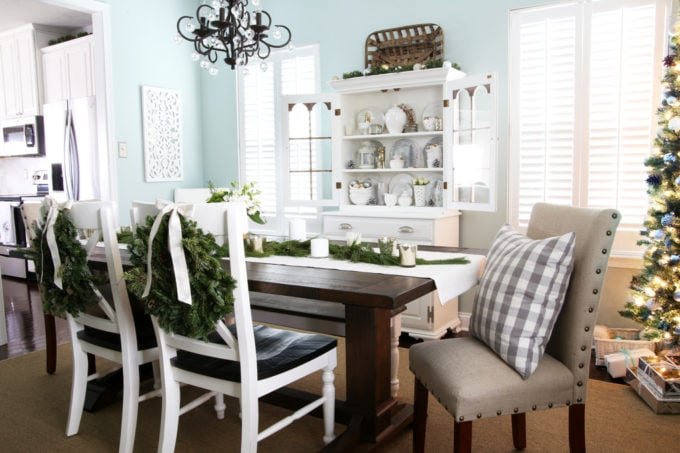 Aqua Dining Room with White, Silver, and Gold Christmas Decor Plus Fresh Greens