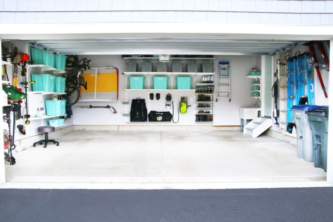 Organized Garage Using the IKEA ALGOT Shelving System and Gladiator Track System