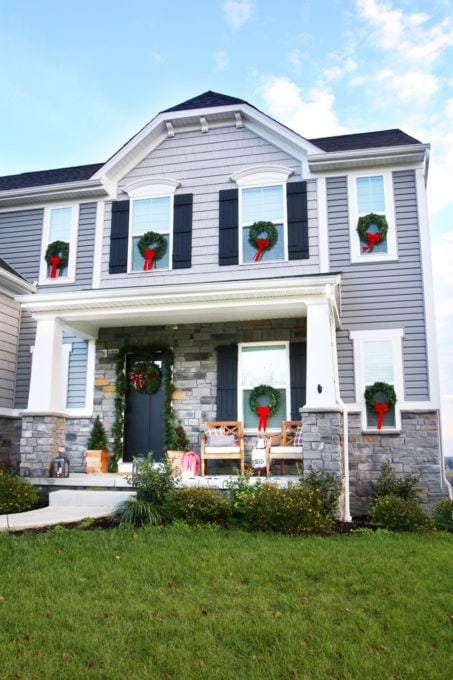 Craftsman Style Home with Christmas Wreaths on the Exterior Windows, Ryan Homes Palermo