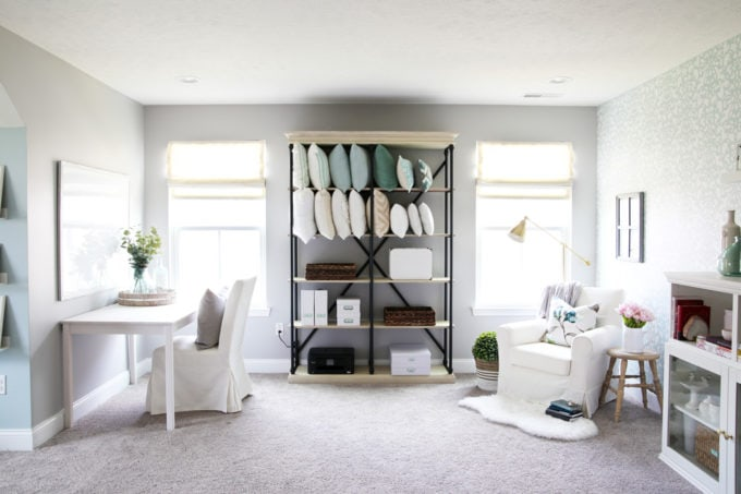 Organized Office with Etagere Shelf, Reading Nook, and Crafting Table