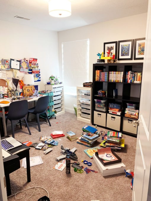 Messy Playroom before Decluttering Process