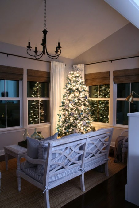 Morning Room with Christmas Tree at Night