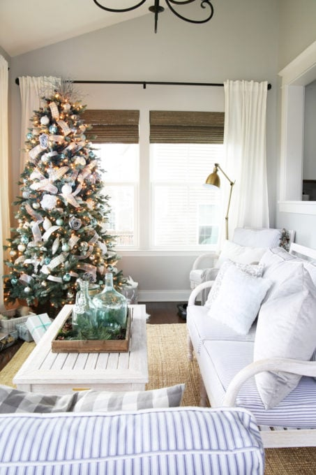 Sunroom with Aqua, Silver, Gray, and White Christmas Decor