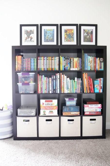 Organized Toys in an IKEA KALLAX Cube Storage Unit