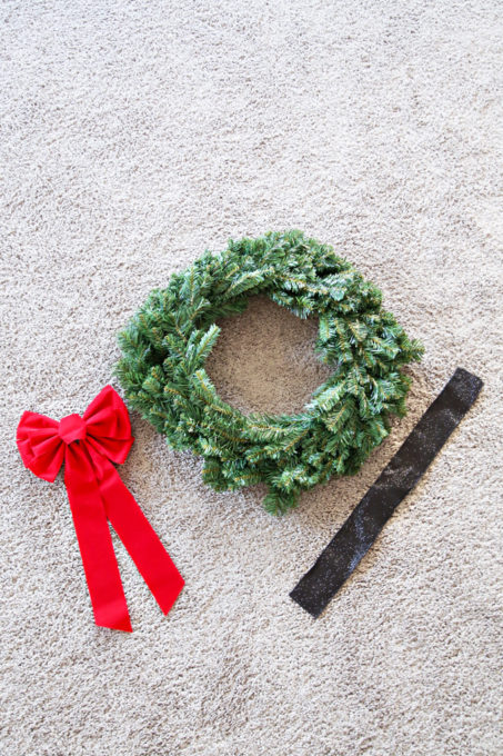 Outdoor Christmas Wreath, Ribbon, and Red Bow