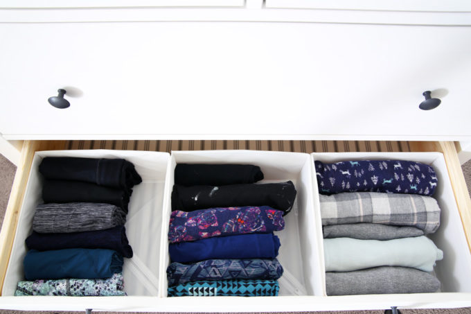 Pants and Pajamas Folded Using the KonMari Method, Organized Drawer