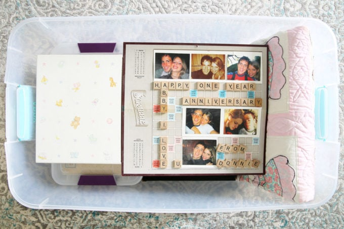 Baby Books and Scrabble Board Gift in a Bin of Sentimental Items