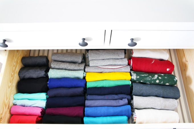 Shirts file folded using the KonMari Method by Marie Kondo