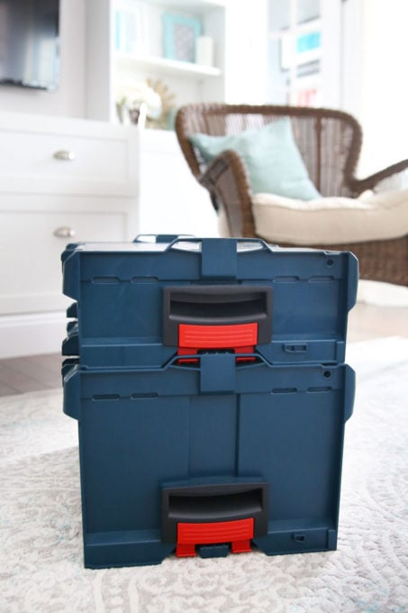 Bosch L-Boxx Series Latched Together with Latches on the Side of the Containers