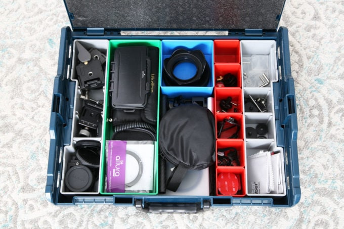 Bosch L-Boxx System Holding Camera Equipment with Interior Organizers